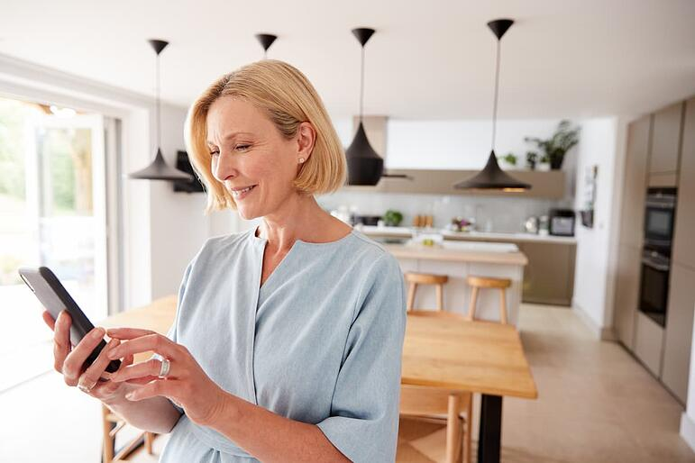 Patient using remote monitoring health app