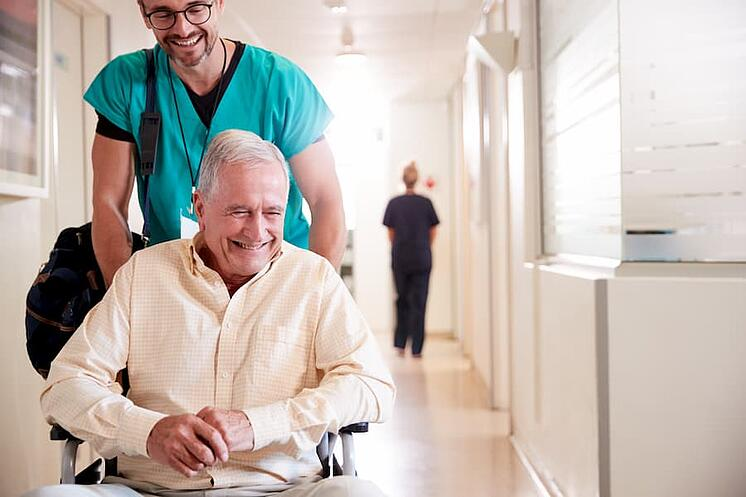 Hospital patient being discharged by doctor